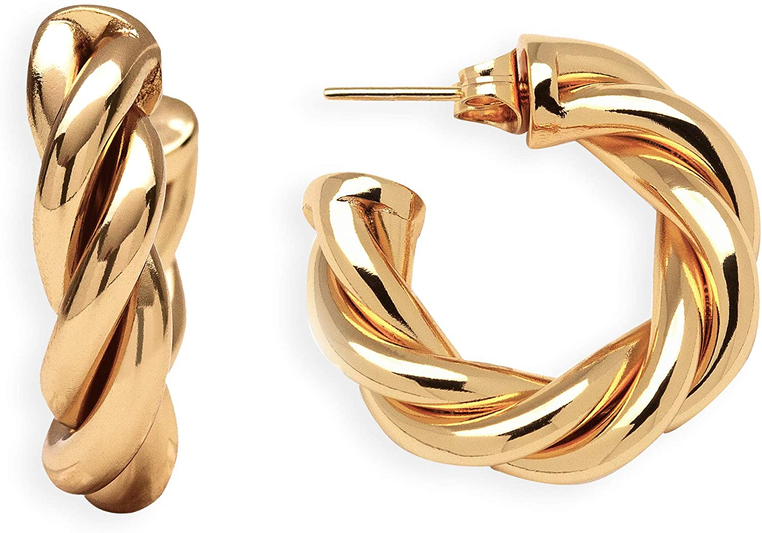 TRIVISO: 18K Gold Plated Rope Hoop Earrings Stud For Women Girls - Thick 1 Inch Chunky Twist Dangle Hoops - Classic Minimal Yellow Gold Plated Jewelry
