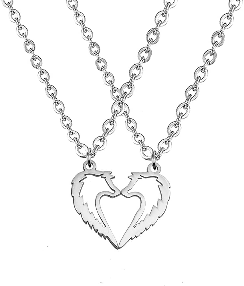 YOUCANDOIT2 Tribal Wolf Couples Statement Pendant Necklace Sweet Heart Jewelry for Lovers