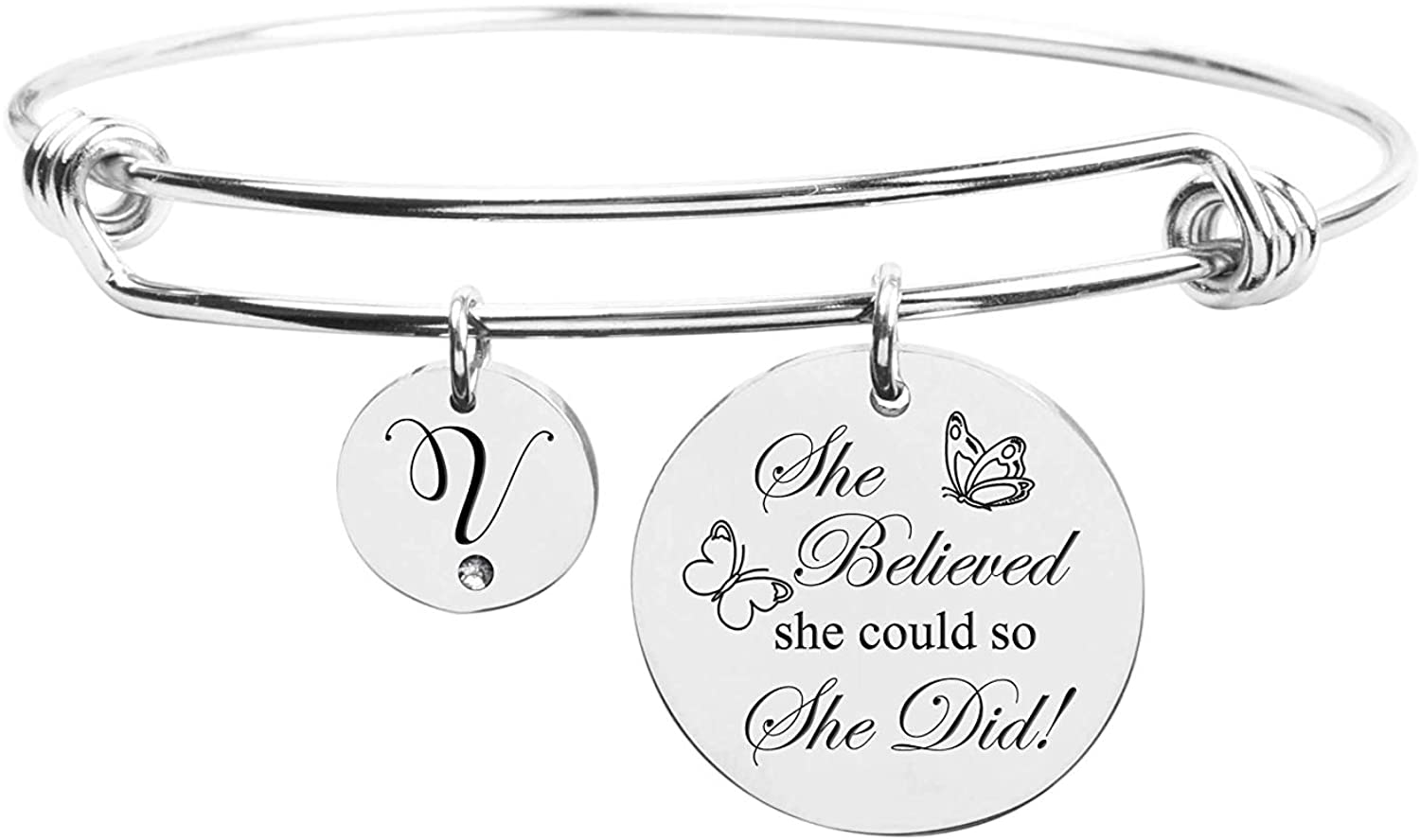 Pink Box She Believed She Could Initial Bangle with Cubic Zirconia - Silver - V