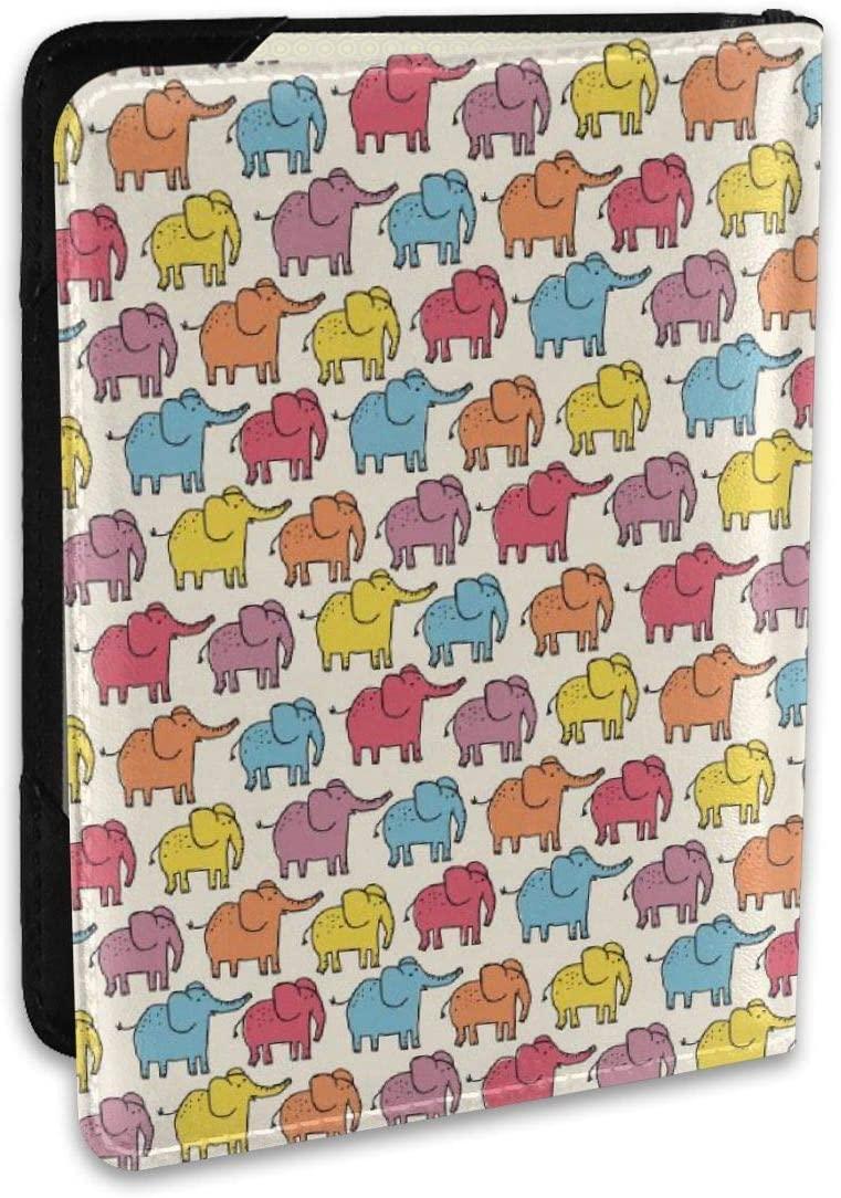 Cute Color Elephants Genuine Leather Passport Holder Travel Wallet