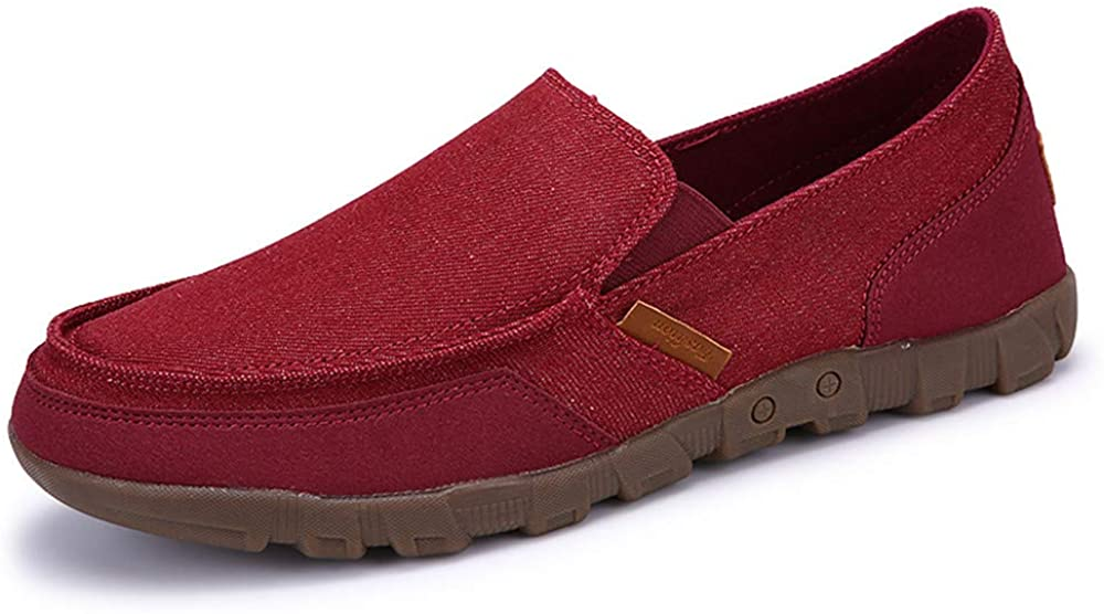 MOLA Mens Canvas Shoes Loafers Slip-On Casual Classic Driving Boat Shoes Fashion Casual Pure Color Flats