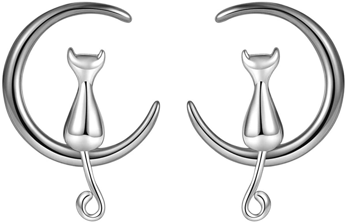 PureJill Gaste de Noyer Sterling Silver Crescent Moon Cat Necklace for Girls Cat Lovers