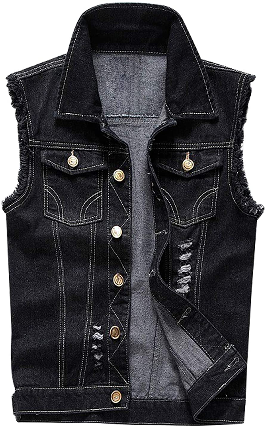 HUPOO Men's Ripped Denim Vests Buttons Down Sleeveless Jean Jackets