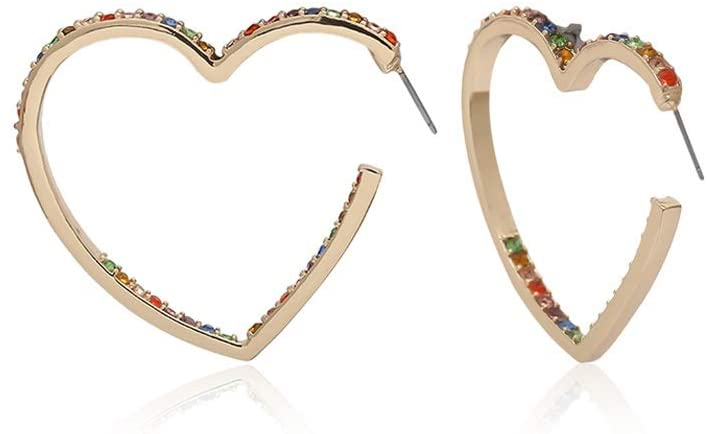 LRHD Classic Design Heart-Shaped Stud Earrings, Simple and Stylish Earrings for Girls Women Men Fashion Jewelry Creativity Earrings for Birthday/Party/Christmas/Friendship/Valentine Gifts