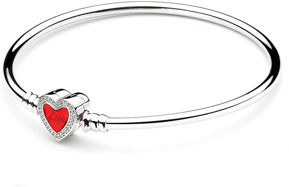 ATHENAIE Authentic 925 Sterling Silver Basic Charm Bracelet Bangle with CZ Heart-Shaped Enamel Snap Clasp