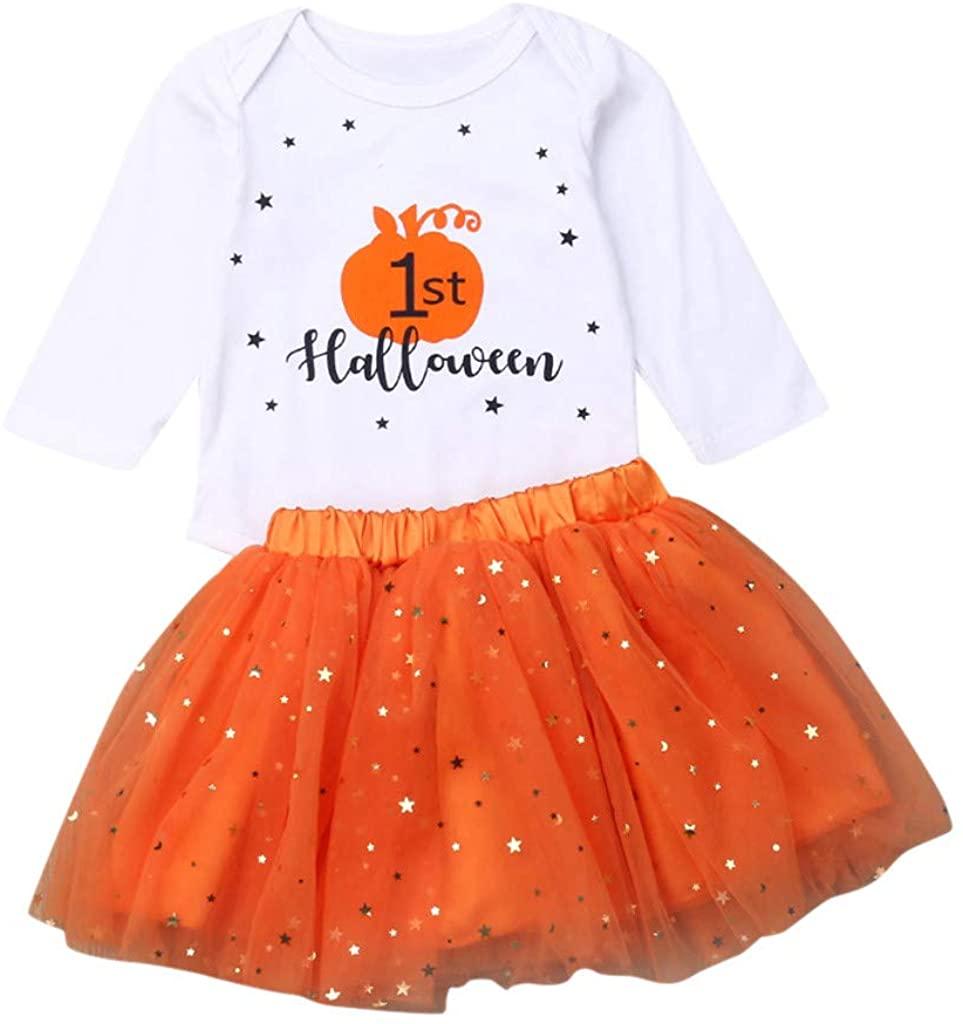 Heberry Baby Girl Princess Dress Halloween Pumpkin Romper+Tutu Skirt Outfits Set