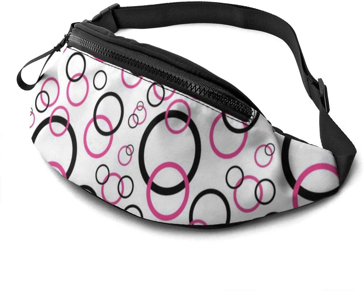 Geometric Circle Design Fanny Pack for Men Women Waist Pack Bag with Headphone Jack and Zipper Pockets Adjustable Straps