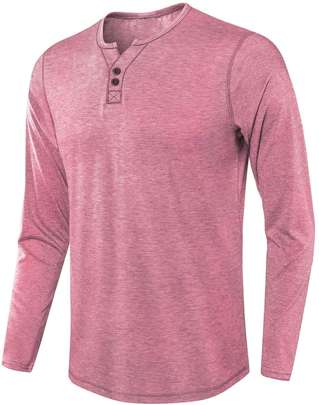 ZHPUAT Men's Slub Cotton Henley Shirt Regular-Fit Lightweight Basic T-Shirt with Long Sleeves