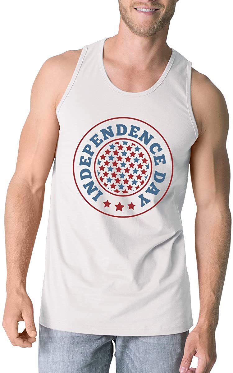 365 Printing Independence Day Mens White Crewneck Cotton Graphic Tanks for Him