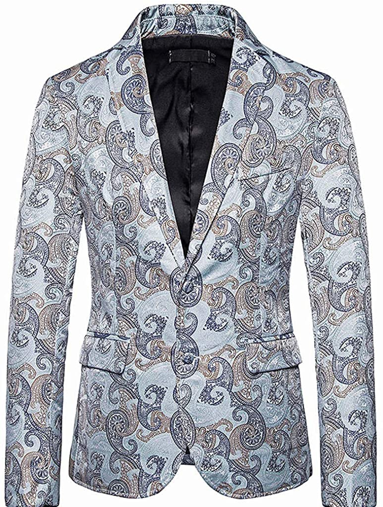MoonHome Mens Dress Floral Suit Slim Fit Stylish Casual Printed Blazer Jacket Notched Lapel Two Button Stylish Blazer