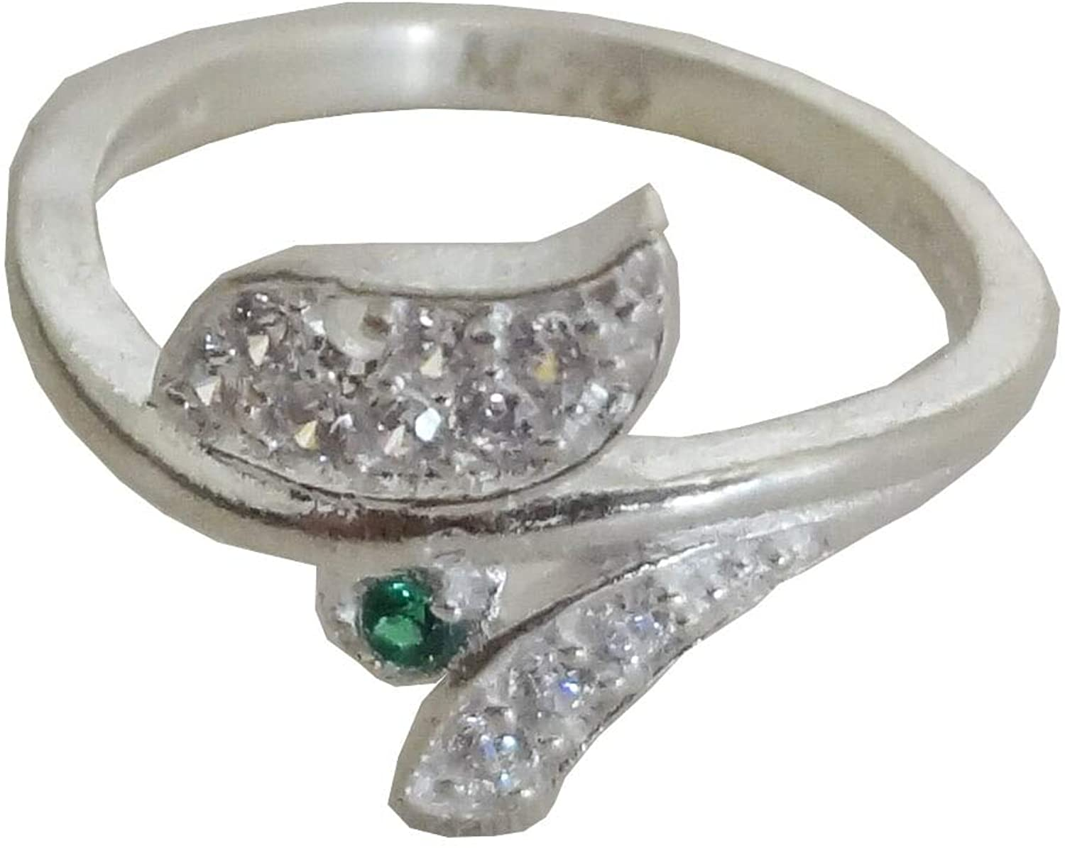 New Stunning Multi-Stone Carved Solid Fine Silver Finger Ring USA Size :6.5