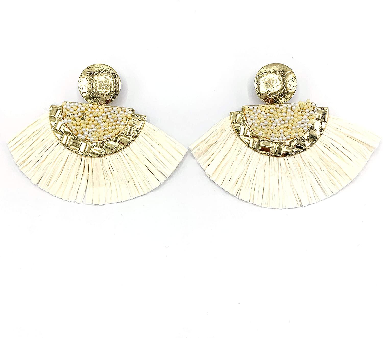 Glitziest Bohemian Tassel Earrings-Colorful Hoop Fringe Layerd Dangling Tassel Earrings for Women Girls Gift Statement Earrings, Beige