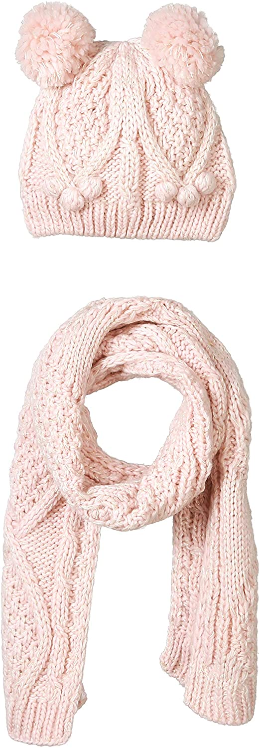 UNDER ZERO UO Girl's Winter Cute Pink Knitted Hat Scarf Set
