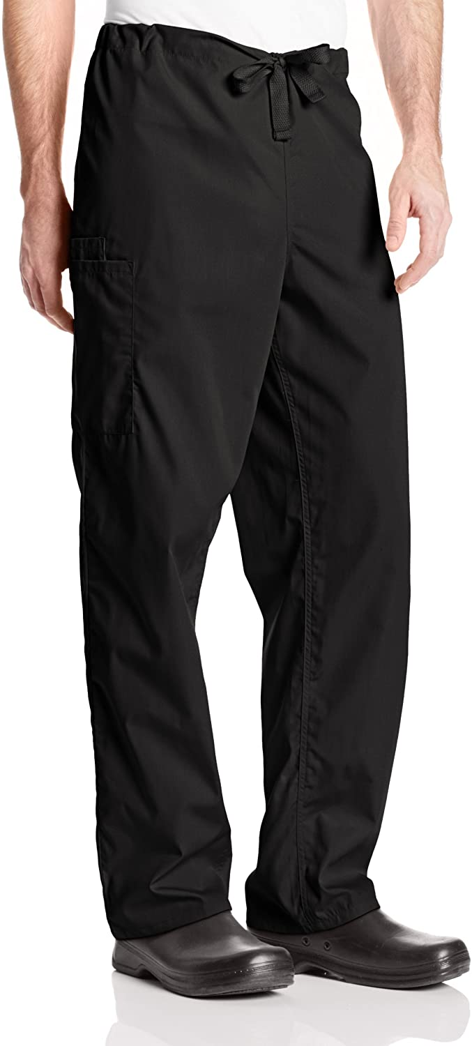 Cherokee Big Originals Unisex Drawstring Cargo Scrubs Pant, Black, X-Large Tall