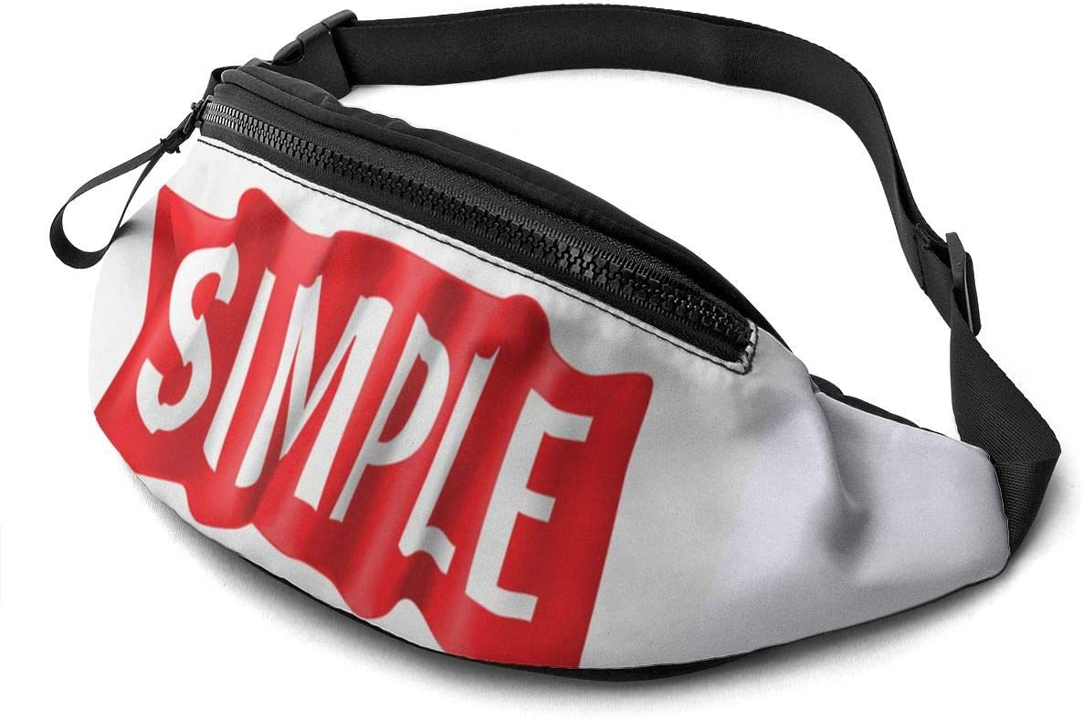 simple slogan Fanny Pack for Men Women Waist Pack Bag with Headphone Jack and Zipper Pockets Adjustable Straps