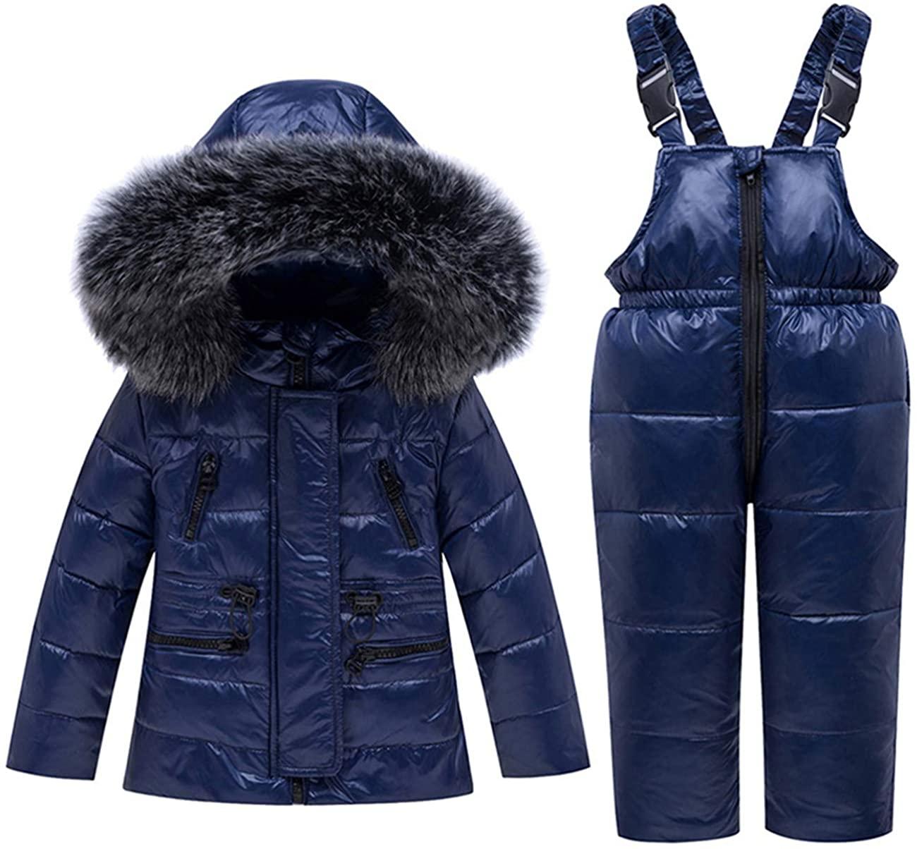 REWANGOING 2 Pcs Baby Girls Winter Warm Fur Trim Hooded Soild Zipper Puffer Down Jacket Snowsuit with Ski Bib Pants Set