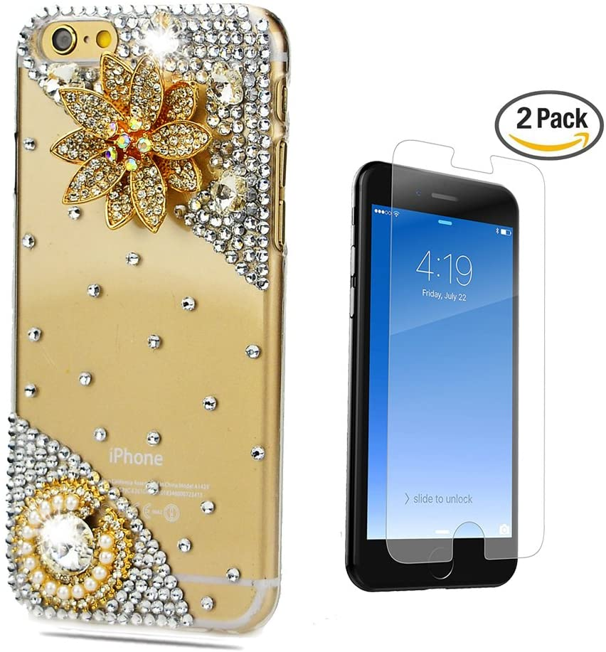 STENES iPhone 7 Plus Case - [Luxurious Series] 3D Handmade Crystal Sparkle Bling Case With Screen Protector & Retro Bowknot Anti Dust Plug - Pretty Flowers/Gold