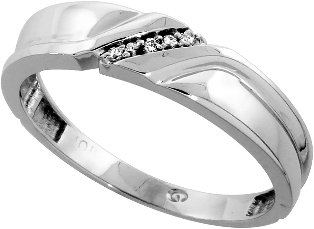 10k White Gold Mens Diamond Wedding Band Ring for Men 0.04 cttw Brilliant Cut 5mm wide Size 10.5