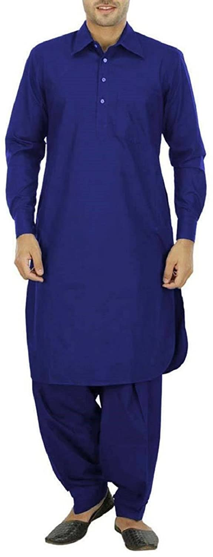 Royal Kurta Men's Linen Pathani Suit 40 Blue