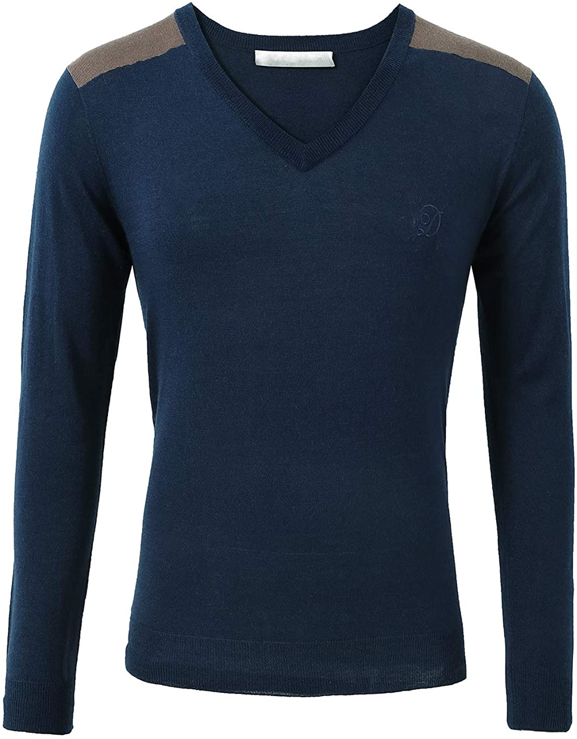 Escalier Men's Casual Pullover Sweater Slim Fit Button Long Sleeve V Neck Sweaters
