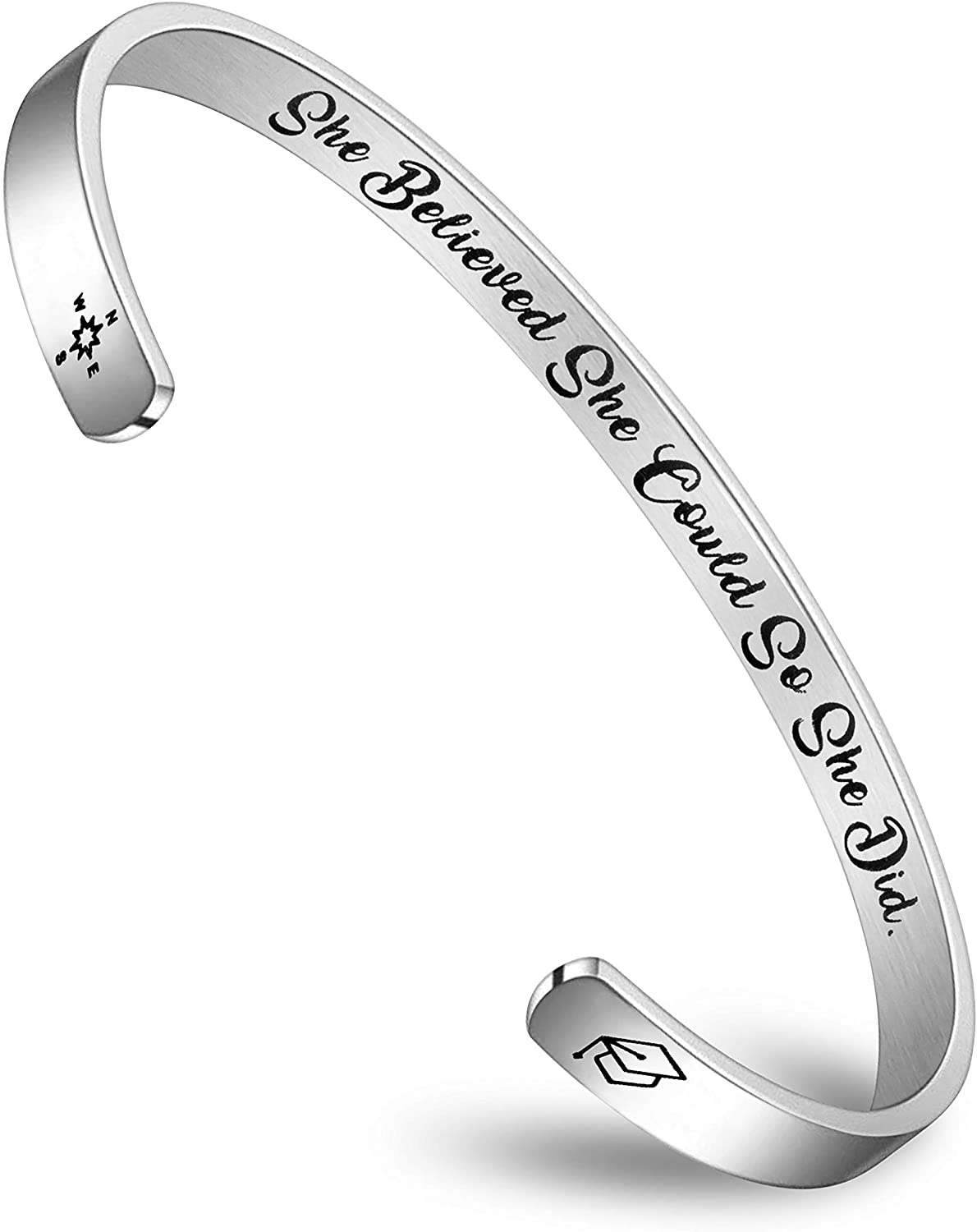 Encouragement Gifts Bracelet Cuff Bangle Women Mantra Quote Stainless Steel Silver