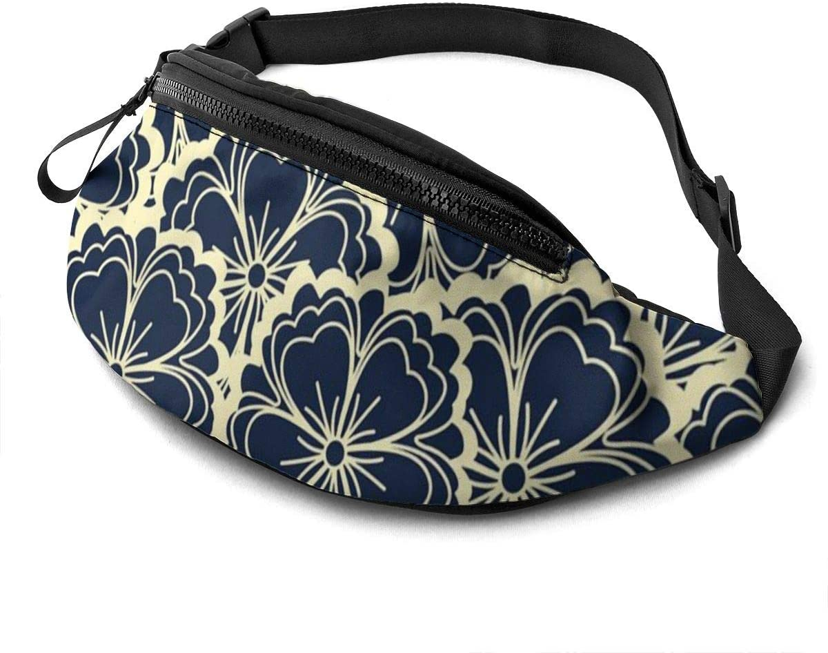 Dark Floral Fanny Pack For Men Women Waist Pack Bag With Headphone Jack And Zipper Pockets Adjustable Straps