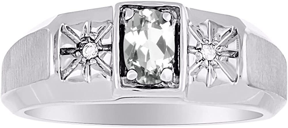 Birthstone Ring Sterling Silver or Yellow Gold Plated Silver White Topaz & Diamond Ring