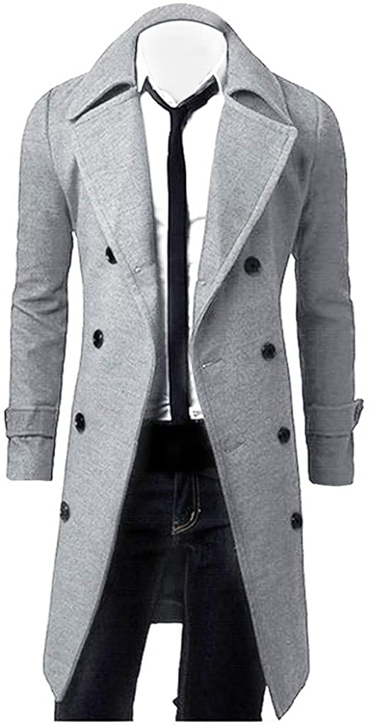 Mens Stylish Fashion Classic Wool Double Breasted Pea Coat