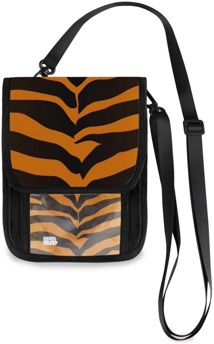 Neck Travel Wallet Neck Pouch - Tiger Skin Passport Holder with RFID Blocking for Woman Man Travel Document Holder