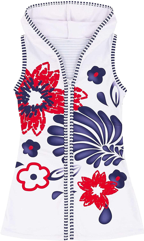 Deux par Deux Girls' Hooded Cover-up Dress Playa Del Mar, Sizes 4-12