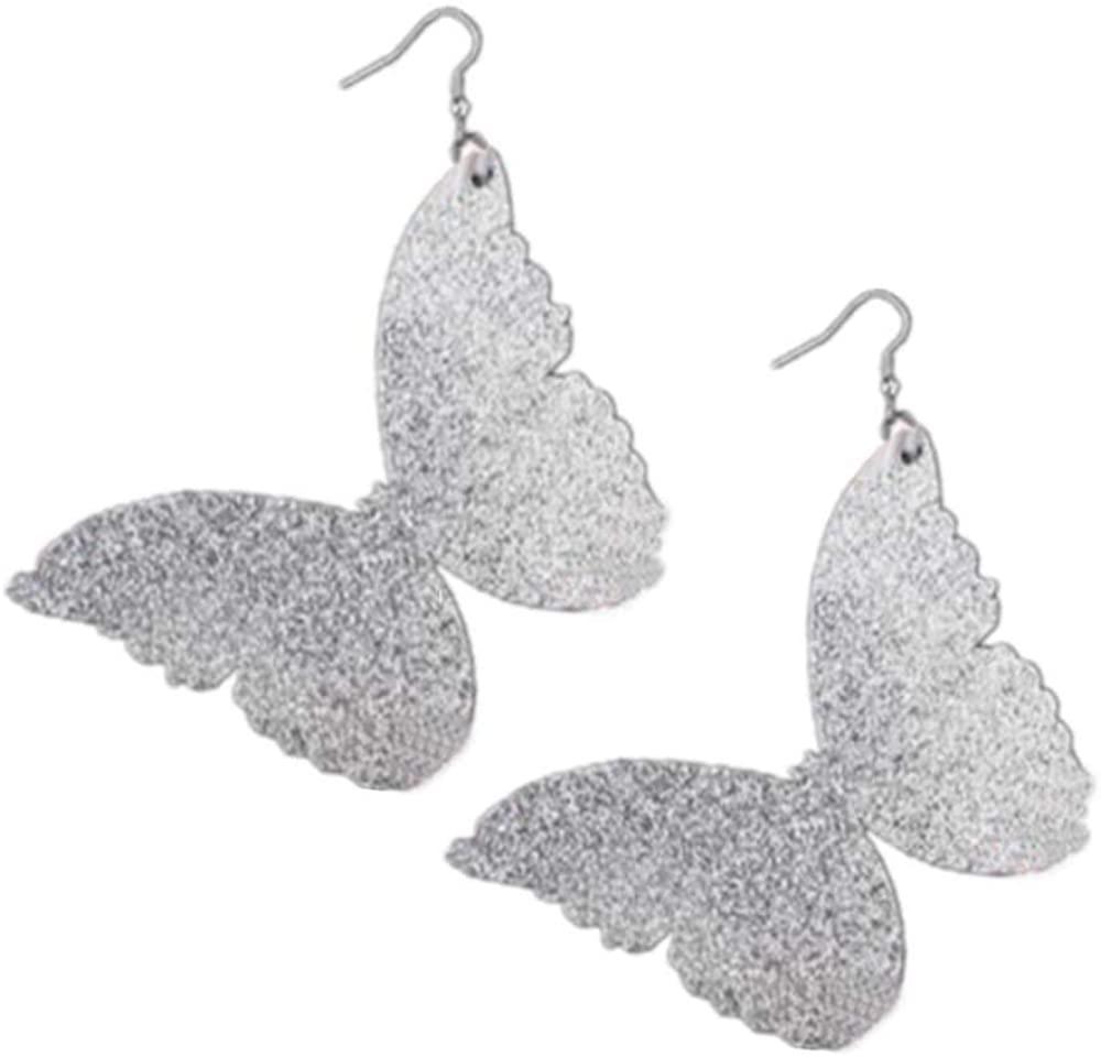 80s Girls Charm Standout Women Stud Drop Earrings Exaggerated Oversized Silver Butterfly Earrings for Women Party