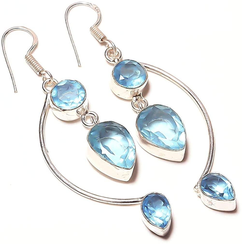 Wonderful! Blue Topaz Quartz HANDMADE Jewelry Sterling Silver Plated Earring 2.5 Long