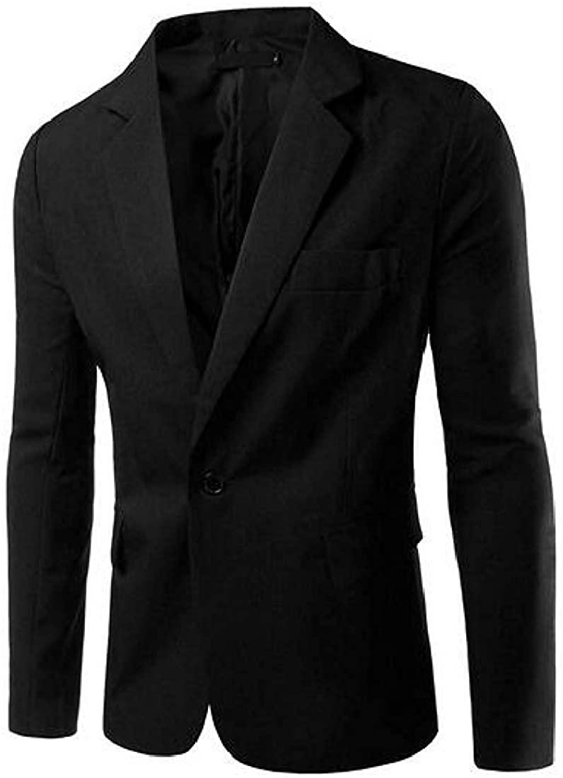 Mens One Button Formal Solid Color Slim Fit Casual Dress Blazer Jacket Suit Coat,Black,US-S