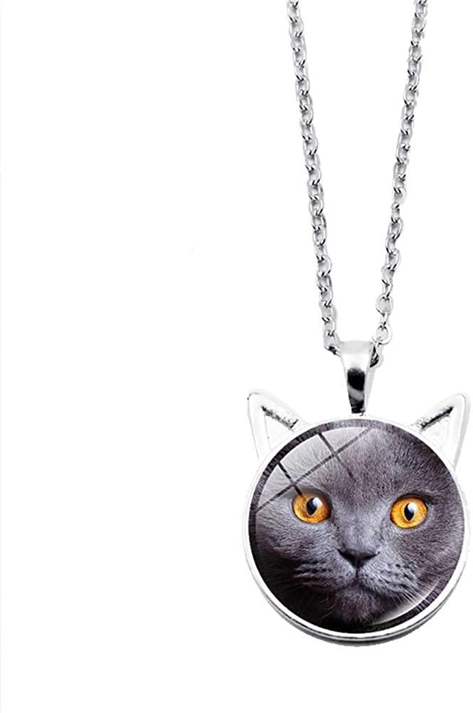 NicSO Pet Cat Time Gemstone Pendant Necklace Cat Kitty Charm Necklace Cat Ear Necklace