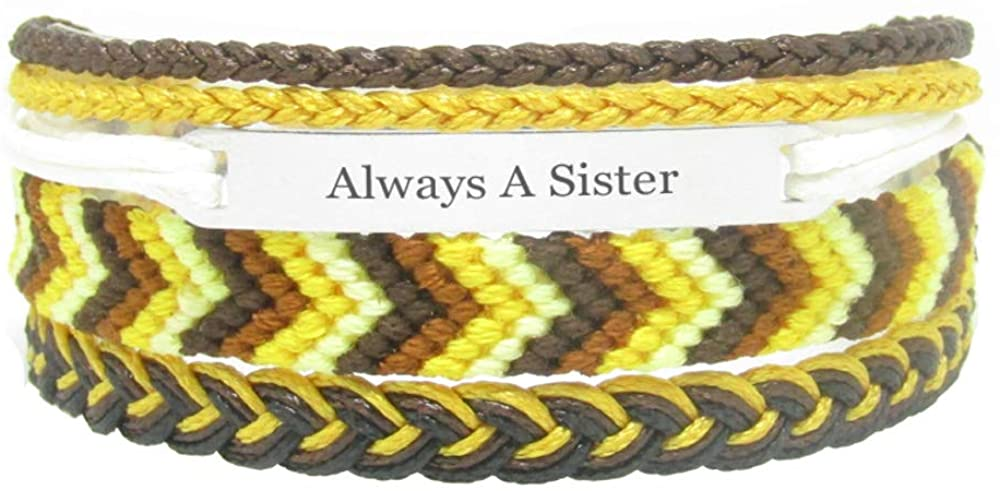 Miiras Family Engraved Handmade Bracelet - Always A Sister - Yellow - Made of Embroidery Thread and Stainless Steel - Gift for Sister