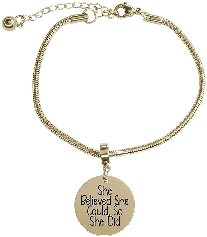 Pink Box Adjustable Snake Chain Inspirational Bracelet Gold - She Believed she Could