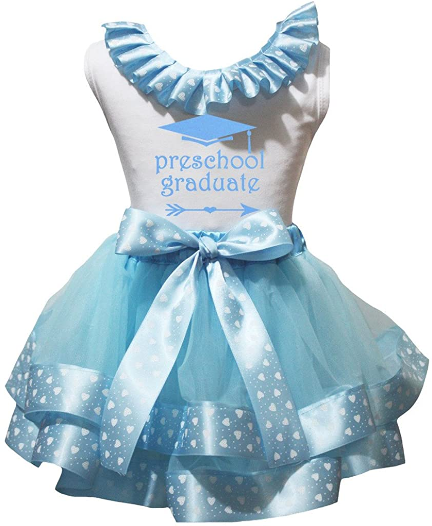 Petitebella Preschool Graduate White Shirt Light Blue Hearts Petal Skirt Nb-8y