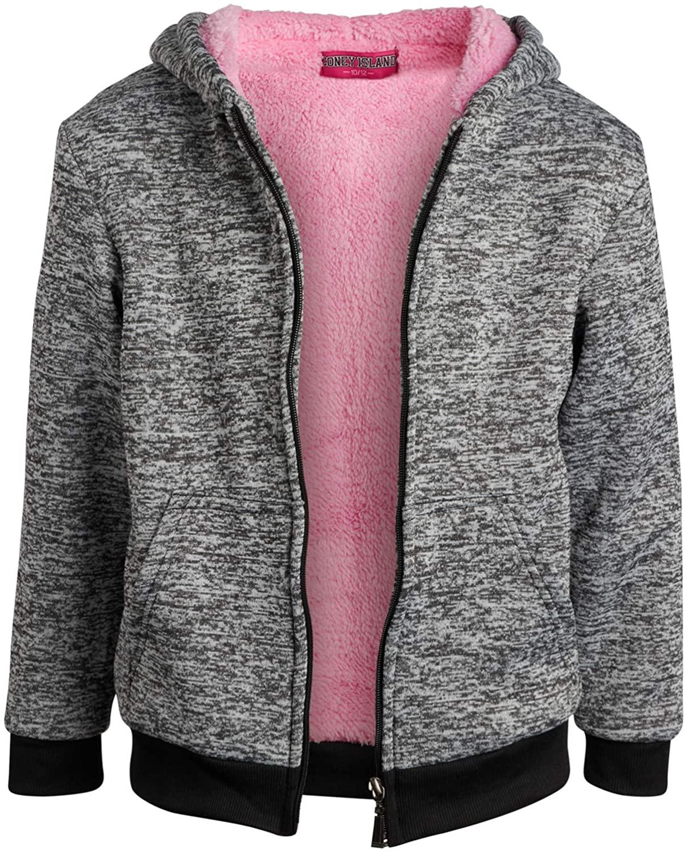 Coney Island Girls Fleece Sweatshirt Hoodie – Fully Sherpa Lined- Solids and Flip Sequins