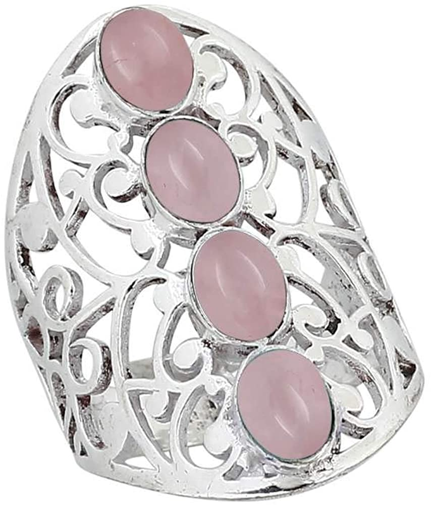 Genuine Rose Quartz Oval .925 Silver Plated Multi Stone Filigree Rings for Women and Girls