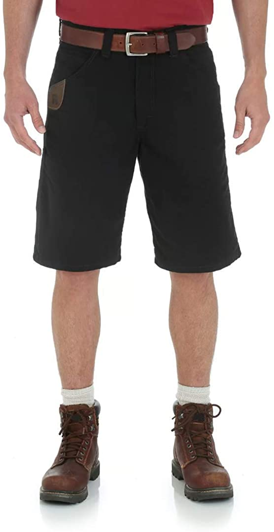 Wrangler Riggs Mens Premium Workwear Relaxed Fit Technician Ripstop Shorts (Black)