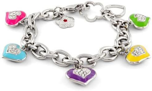 Lauren G. Adams Girl's Rhodium-Plated Pave Heart Charm Bracelet
