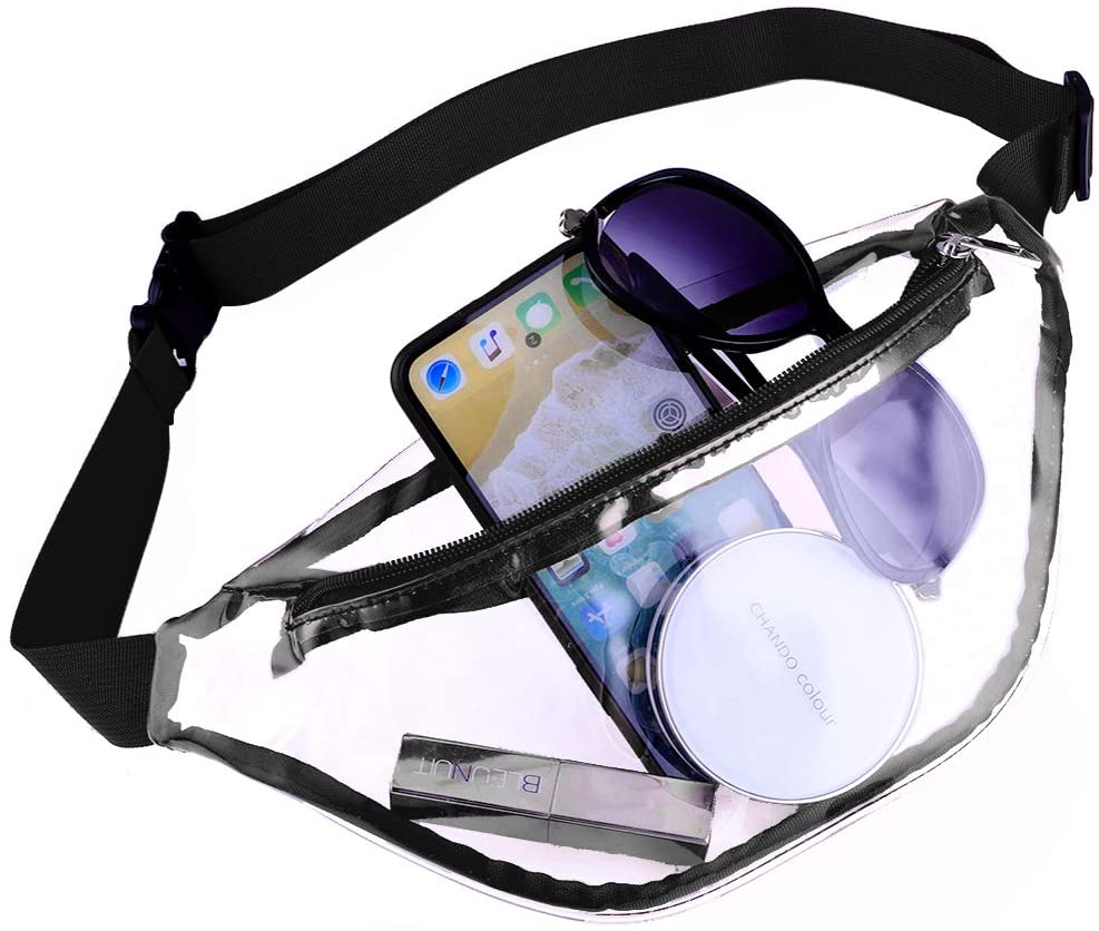 Fashion Clear Fanny Pack Clear Bag Stadium Approved Transparent PVC Waist Bag Sling Crossbody Bag for Concerts Football Games Travel Beach Christmas and Daily Use (Black)
