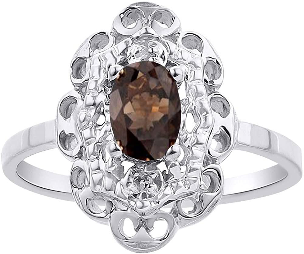 Diamond & Smoky Quartz Ring Set In Sterling Silver Diamond Halo