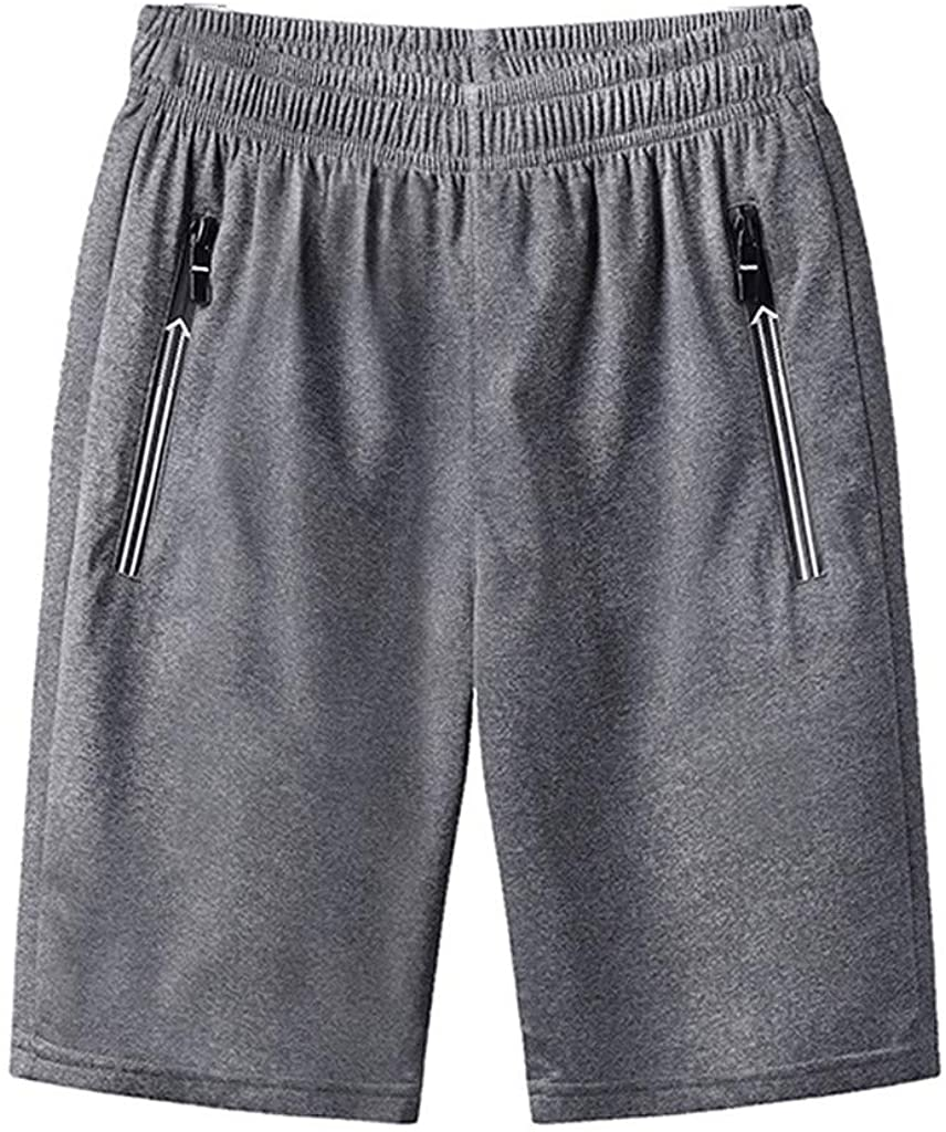 FANSHONN Men's Summer Plus Size Quick Dry Beach Shorts Comfy Casual Short Pants with Elastic Waist and Pockets