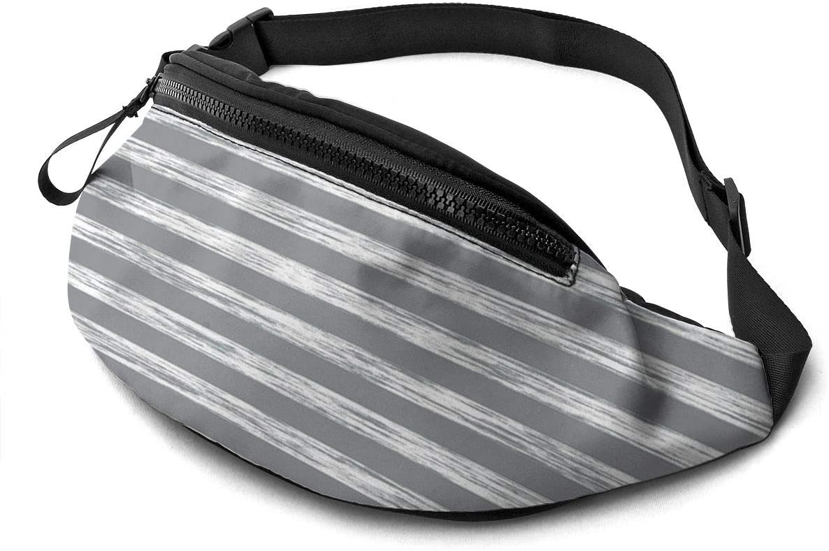 Stripes Pencil Charcoal Grey Fanny Pack for Men Women Waist Pack Bag with Headphone Jack and Zipper Pockets Adjustable Straps