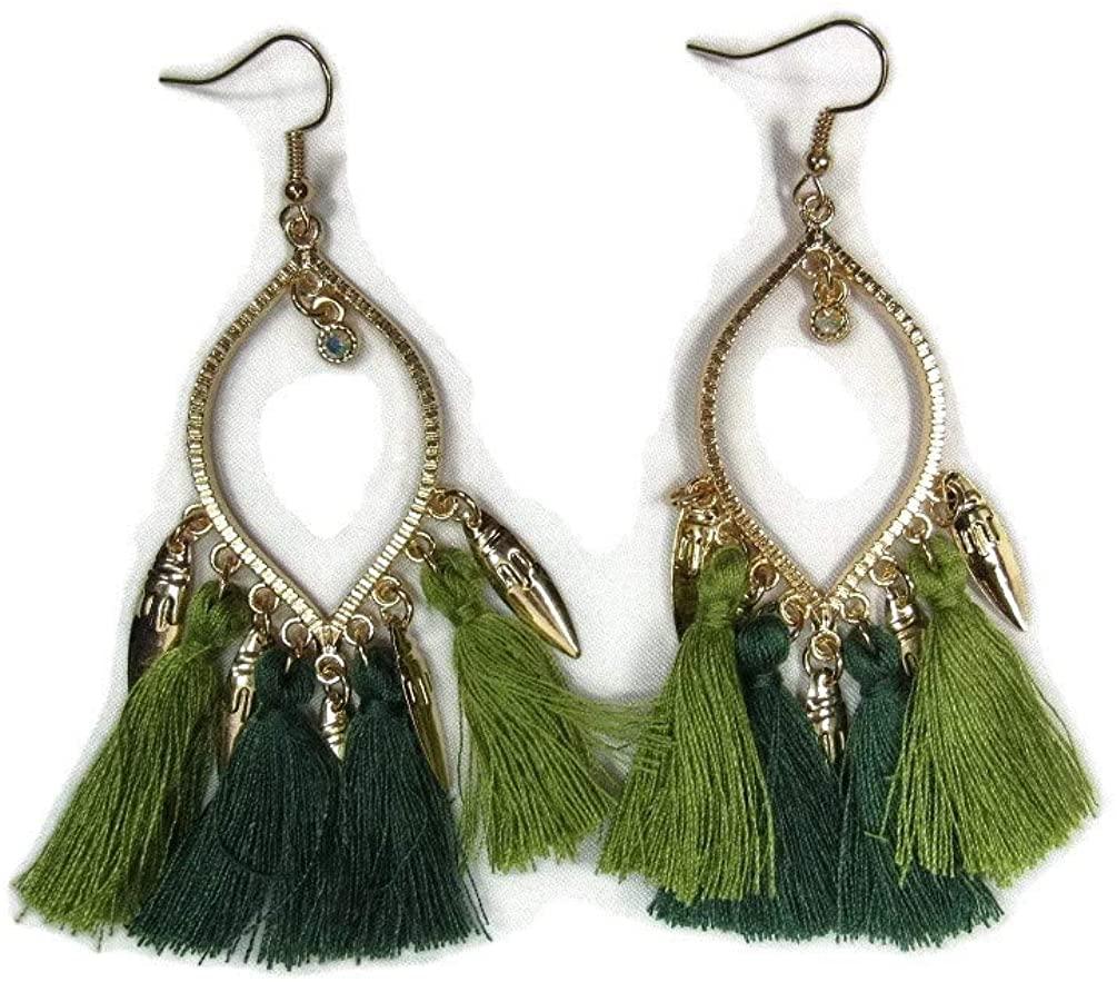 Gold Metal Dangle Statement Earrings Silk Tassel Rhinestone 3' Super Long Latest Fashion Beautiful Bright Colors FREE FIRST CLASS SHIPPING