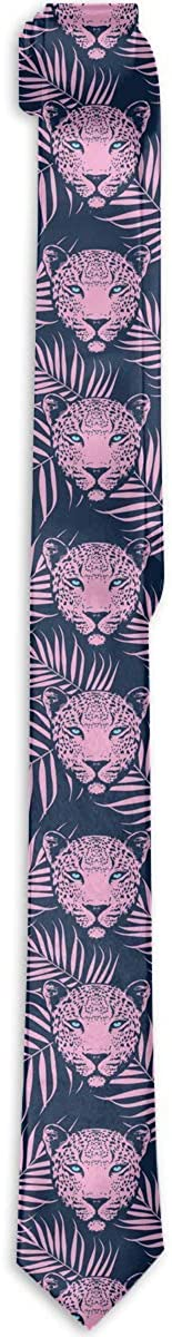 Men's Tie Leopard With Palm Leaves Pattern Fashion Silk Skinny Ties Personalized Gift Neckties