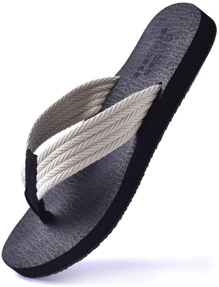 Summer Flip Flops Non-Slip Rubber Grip Sandals and Slippers Korean Version of The Trend of Casual Beach Shoes Indoor and Outdoor Men's Daily Sandals (Color : White, Size : 44)