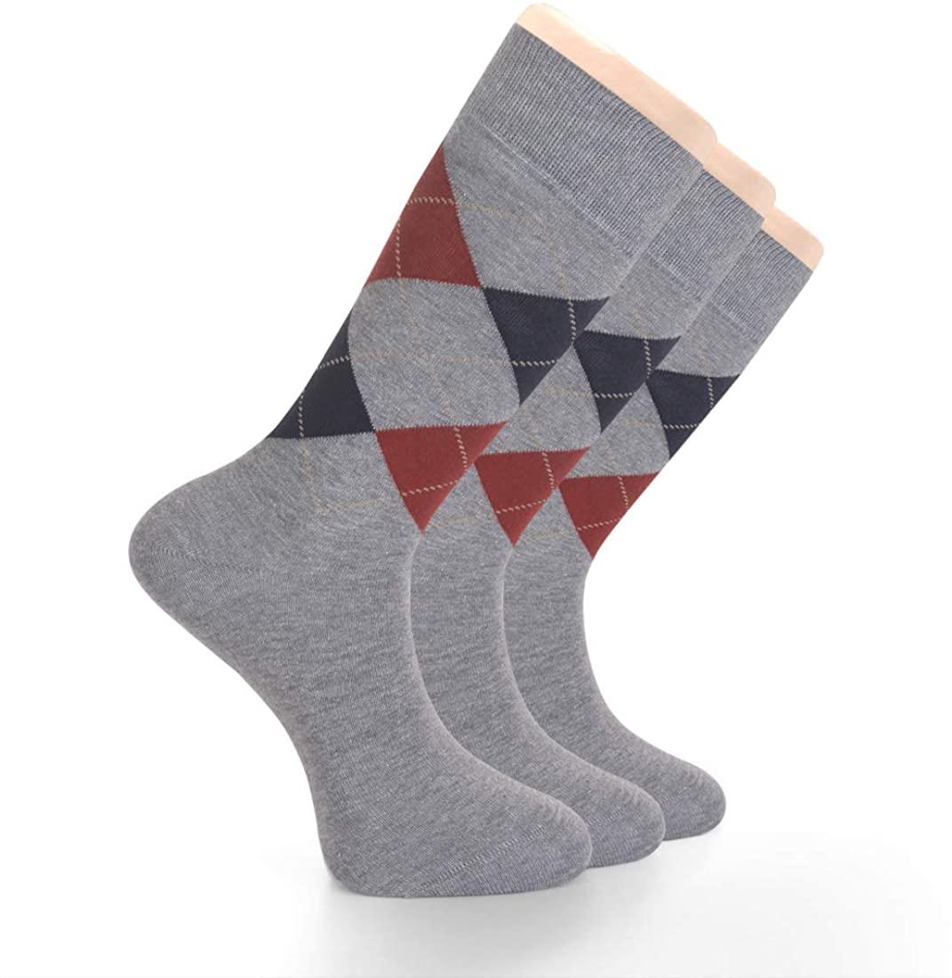 LAETAN Men's Argyle Design Cotton Dress Socks, Crews Size, Groomsmen Wedding Socks