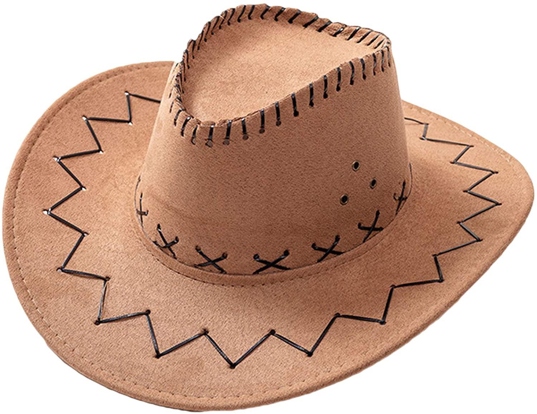 Flygo Mens Womens Cattlemen Faux Felt Western Style Staw Cowboy/Cowgirl Hat
